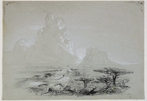 Sketch for a Biblical or Allegorical Picture (Figure Overlooking a Plain), Illustration by Thomas Cole (1801-1848, United Kingdom)