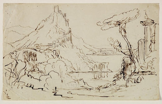 Sketch for an Allegorical or Architectural Fantasy, Illustration by Thomas Cole (1801-1848, United Kingdom)