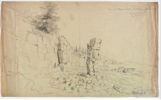 Sketch of Monument Rock near Sand Beach, Mount Desert, Oil by Thomas Cole (1801-1848, United Kingdom)