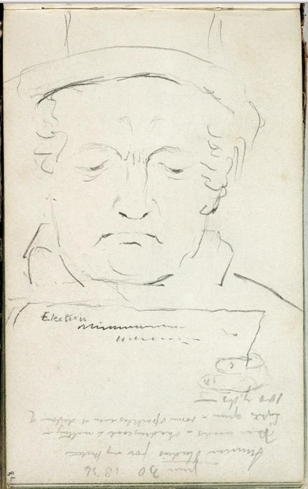 Study, a man's face, Engraving by Thomas Cole (1801-1848, United Kingdom)