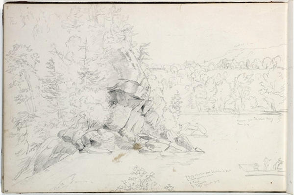 Study, rocky landscape, lake, Illustration by Thomas Cole (1801-1848, United Kingdom)