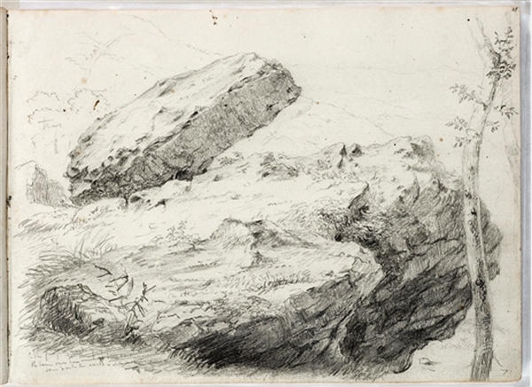 Study, rocky landscape, Illustration by Thomas Cole (1801-1848, United Kingdom)