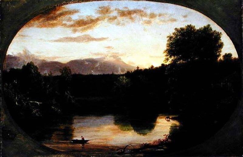 Sunset, View on Catskill Creek, Oil by Thomas Cole (1801-1848, United Kingdom)