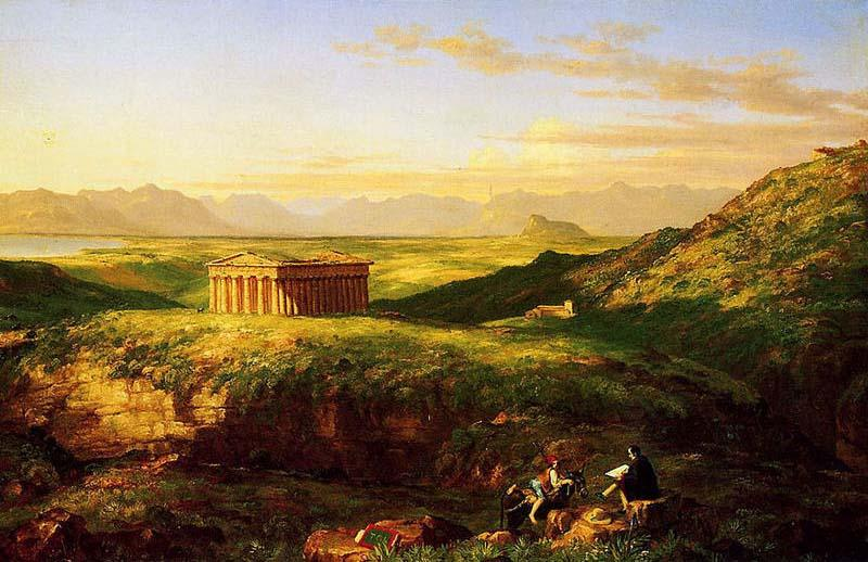 The Temple of Segesta with the Artist Sketching, Oil On Canvas by Thomas Cole (1801-1848, United Kingdom)