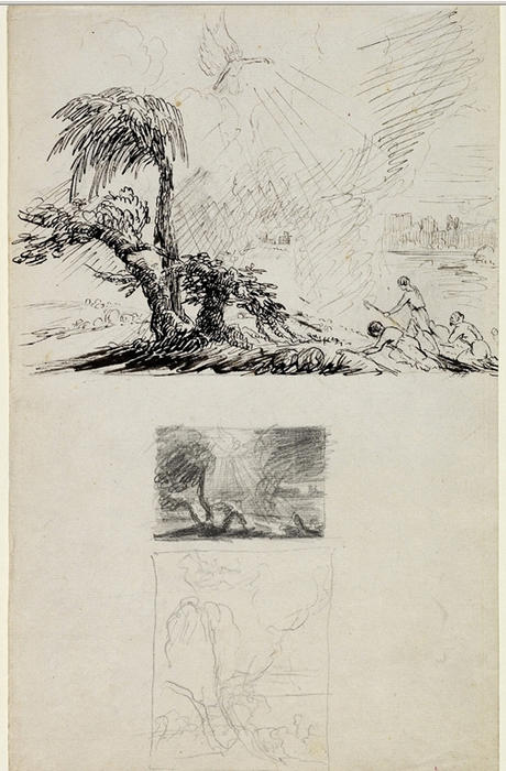 Three Sketches for the ANNUNCIATION TO THE SHEPHERDS, Drawing by Thomas Cole (1801-1848, United Kingdom)