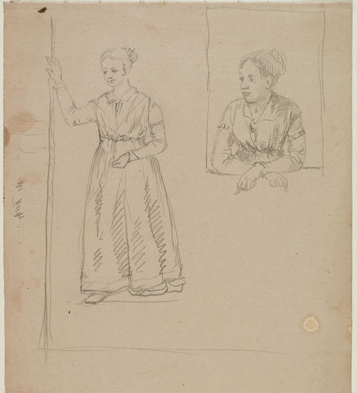 Two Drawings of a Female (Study for HOME IN THE WOODS), Drawing by Thomas Cole (1801-1848, United Kingdom)