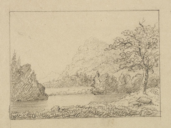 View of Lake with Mountain Peak, Illustration by Thomas Cole (1801-1848, United Kingdom)