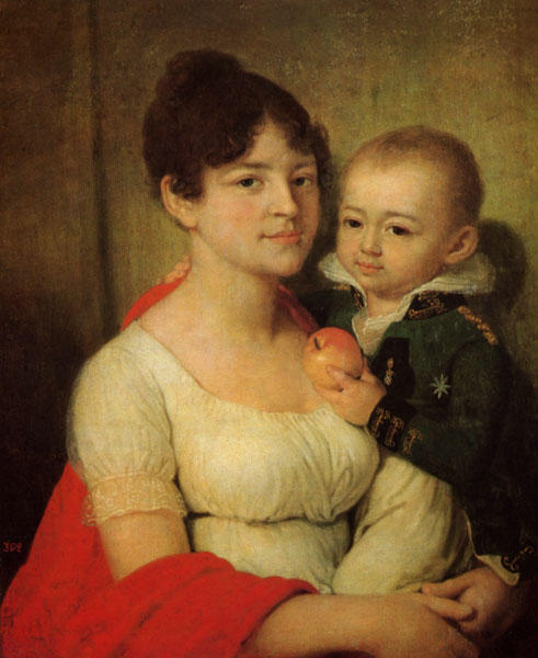 Woman with a child, Oil by Vladimir Lukich Borovikovsky (1757-1825)