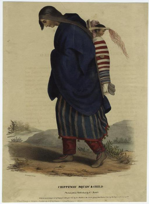 Chippeway [Chippewa] squaw & child, Oil by Charles Bird King (1785-1862, United States)