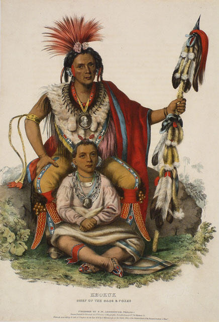 Keokuk, Chief of the Sacs & Foxes, Oil by Charles Bird King (1785-1862, United States)