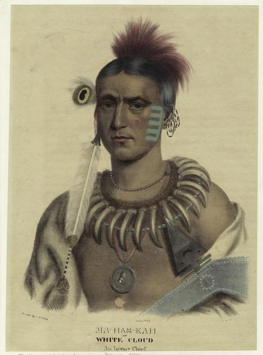 Ma-Has-Kah or White Cloud. an Ioway chief by Charles Bird King (1785-1862, United States) | Painting Copy | ArtsDot.com
