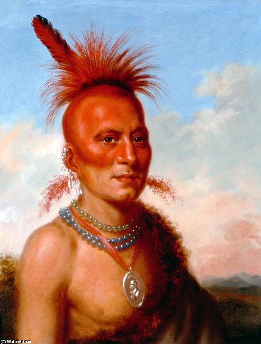 Sharitarish (Wicked Chief), Oil by Charles Bird King (1785-1862, United States)