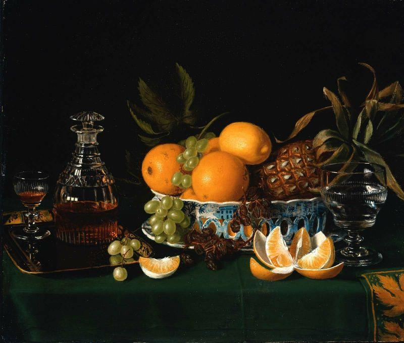 Still Life on a Green Table Cloth, Oil by Charles Bird King (1785-1862, United States)