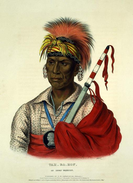 TEH-RO-HON, AN IOWAY WARRIOR, Oil by Charles Bird King (1785-1862, United States)