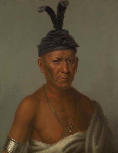 Wai-Kee-Chai, Sanky Chief, Crouching Eagle, Oil by Charles Bird King (1785-1862, United States)