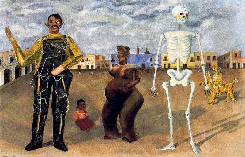Los Cuatro Habitantes de Mexico, Oil by Frida Kahlo (1907-1954, Mexico)