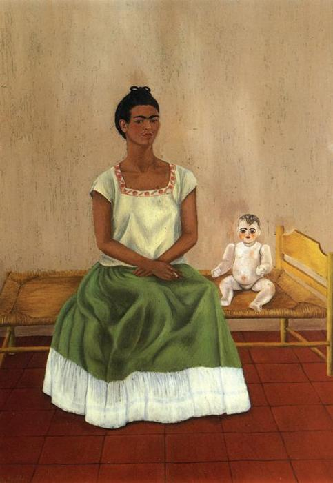 Me and My Doll, Oil by Frida Kahlo (1907-1954, Mexico)