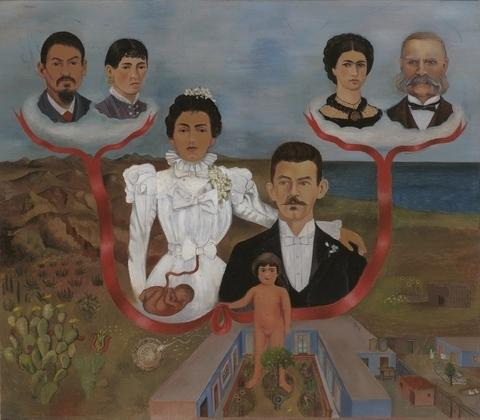 My Grandparents, My Parents, and I (Family Tree), Oil by Frida Kahlo (1907-1954, Mexico)