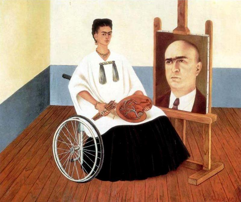 Sef-portrait with Doctor Juan Farill, Oil by Frida Kahlo (1907-1954, Mexico)