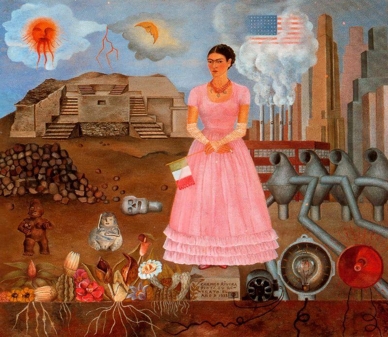 Self-Portrait on the Bordeline Between Mexico and the United States, Oil by Frida Kahlo (1907-1954, Mexico)