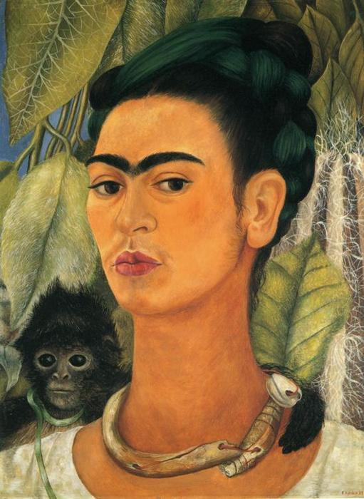 Self-Portrait with Monkey, Oil by Frida Kahlo (1907-1954, Mexico)