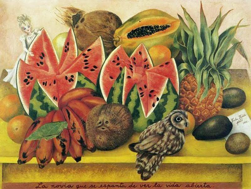 The Bride Frightened at Seeing Life Opened, Oil by Frida Kahlo (1907-1954, Mexico)