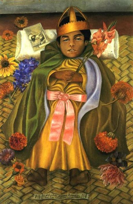 The Deceased Dimas, Oil by Frida Kahlo (1907-1954, Mexico)