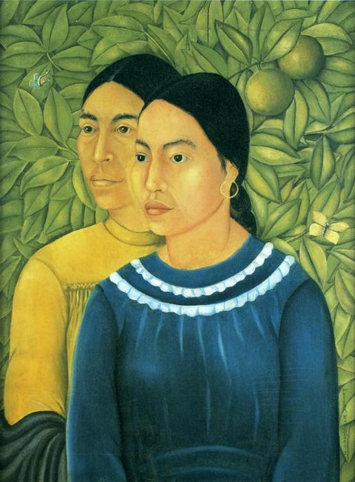 Two Women, Oil by Frida Kahlo (1907-1954, Mexico)