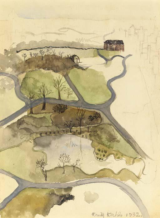 View of Central Park, Watercolour by Frida Kahlo (1907-1954, Mexico)