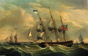 Robert Salmon - Full Rigged Ships and a Brig off the Coast of England