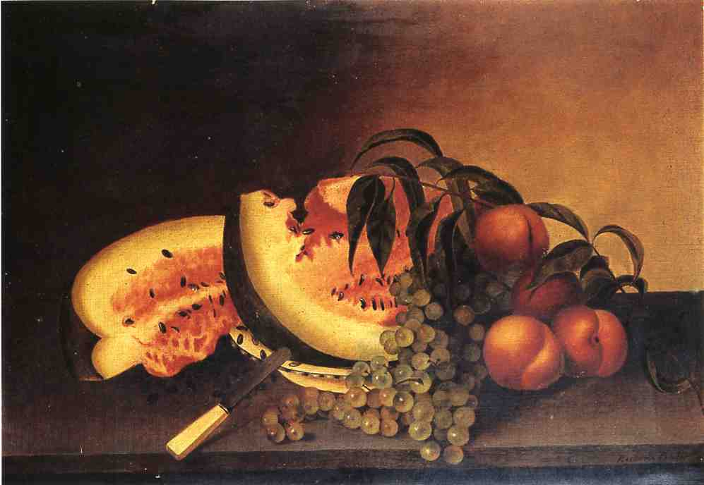 Still Life with Watermelon, Oil On Canvas by Rubens Peale (1784-1865, United States)