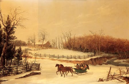 A Sleighing Party, Oil by Thomas Birch (1779-1851, United Kingdom)