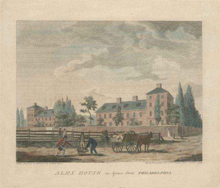Alms house in Spruce Street Philadelphia, Oil by Thomas Birch (1779-1851, United Kingdom)