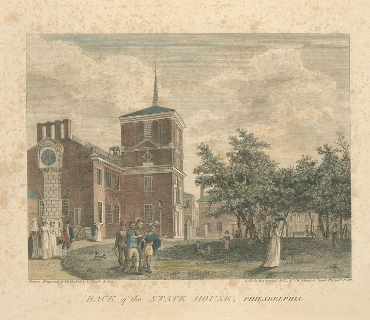 Back of the State House, Philadelphia, Oil by Thomas Birch (1779-1851, United Kingdom)