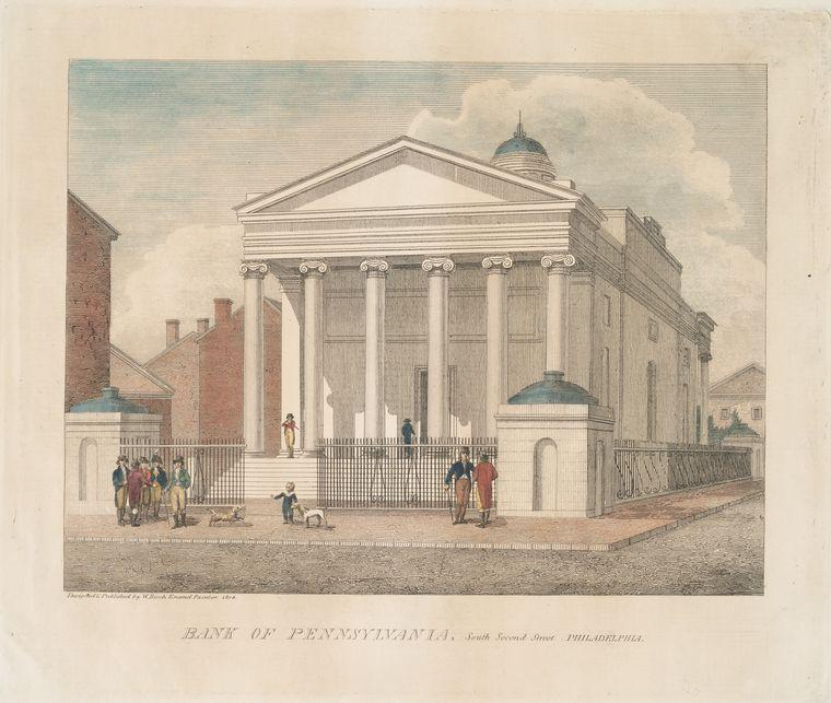 Bank of Pennsylvania, South Second Street Philadelphia 1, Oil by Thomas Birch (1779-1851, United Kingdom)