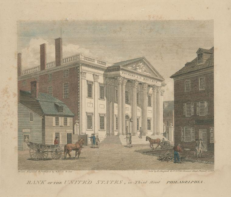 Bank of the United States, in Third Street Philadelphia, Oil by Thomas Birch (1779-1851, United Kingdom)
