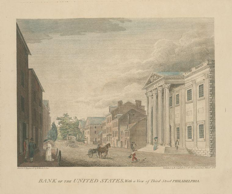 Bank of the United States, with a view of Third Street Philadelphia, Oil by Thomas Birch (1779-1851, United Kingdom)