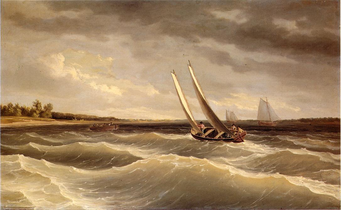 Boats Navigating the Waves, Oil by Thomas Birch (1779-1851, United Kingdom)