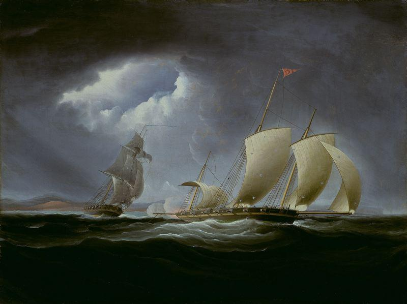 Capture of the Tripoli by the Enterprise, Oil by Thomas Birch (1779-1851, United Kingdom)