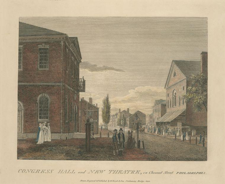 Congress Hall and New Theatre, in Chesnut Street Philadelphia, Oil by Thomas Birch (1779-1851, United Kingdom)