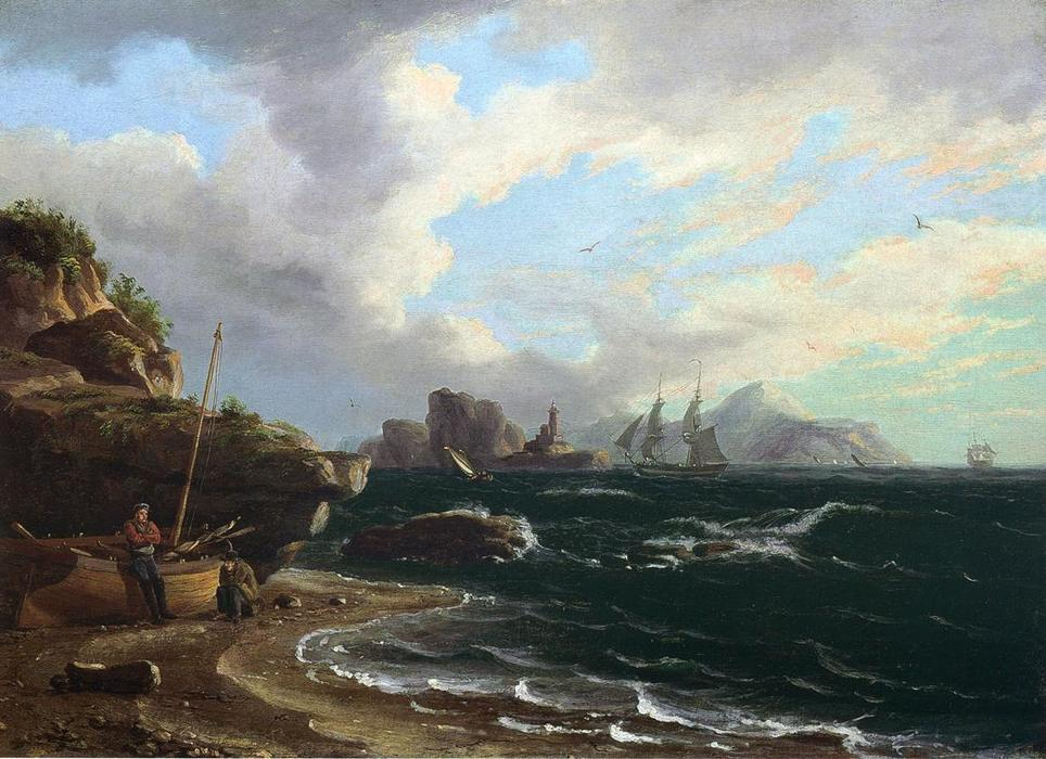 Figures with Docked Boat at Shoreline, Oil On Canvas by Thomas Birch (1779-1851, United Kingdom)