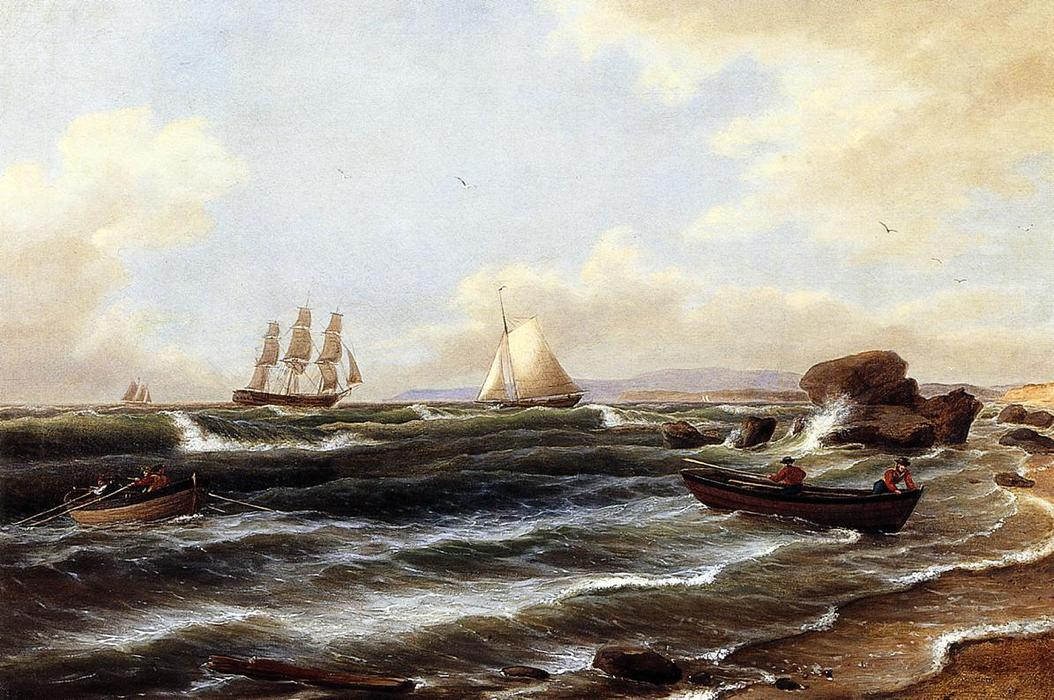 Going Ashore, Oil On Canvas by Thomas Birch (1779-1851, United Kingdom)