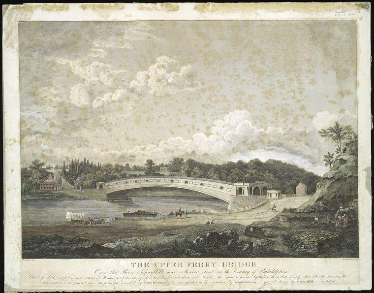 he Upper Ferry Bridge over the River Schuylkill near Morris Street in the county of Philadelphia, Watercolour by Thomas Birch (1779-1851, United Kingdom)