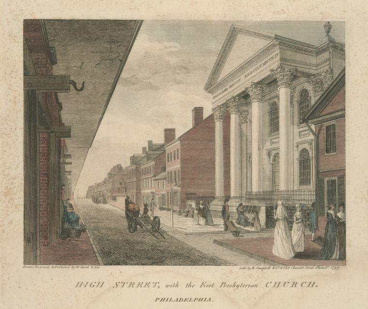 High Street, with the First Presbyterian Church. Philadelphia, Oil by Thomas Birch (1779-1851, United Kingdom)