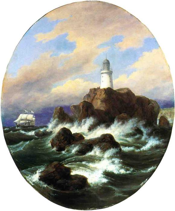 Longships Lighthouse, Land's End, Oil On Canvas by Thomas Birch (1779-1851, United Kingdom)