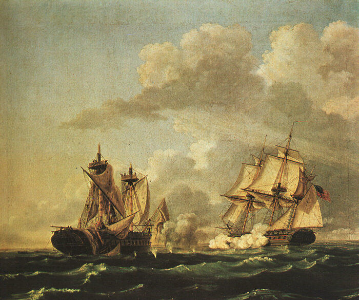 Naval Battle Between the United States and the Macedonian on Oct. 30, 1812, Oil by Thomas Birch (1779-1851, United Kingdom)