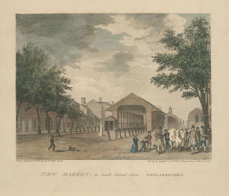 New Market, in South Second Street Philadelphia, Oil by Thomas Birch (1779-1851, United Kingdom)