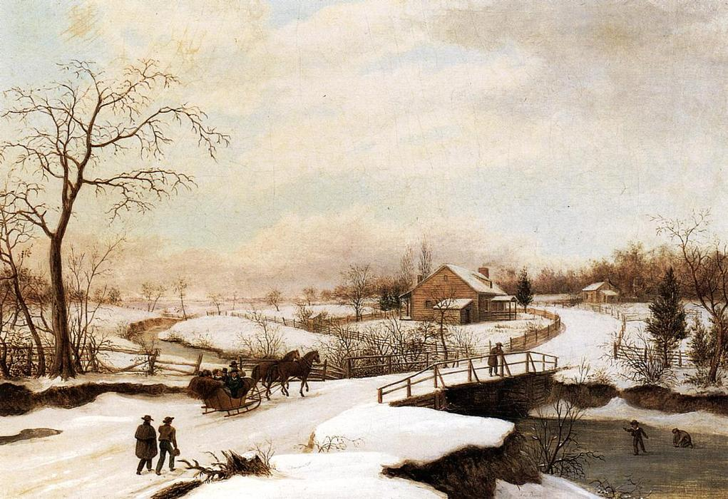 Philadelphia Winter Landscape, Oil On Panel by Thomas Birch (1779-1851, United Kingdom)