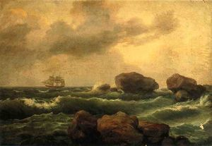 Thomas Birch - Seascape at Sunset