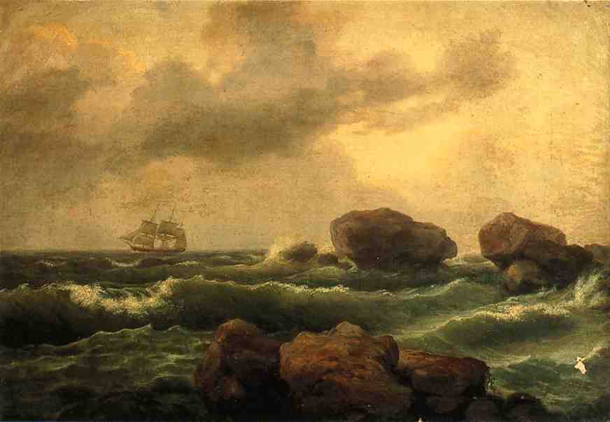 Seascape at Sunset, Oil On Canvas by Thomas Birch (1779-1851, United Kingdom)
